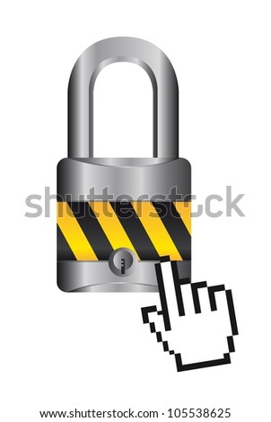 padlock with cursor hand over white background. vector