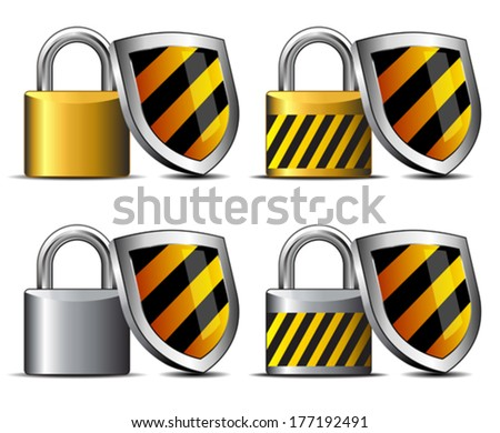 Padlocks with Shield - safeguard your transaction protect -  Keeping you Safe - concept internet protection - stock vector