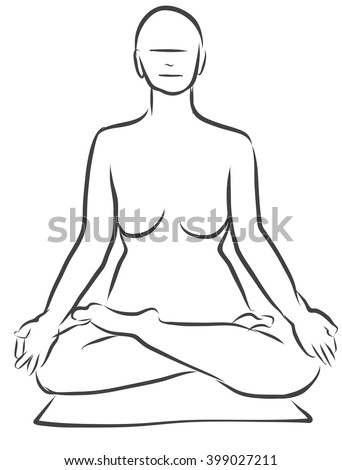 Padmasana Lotus Pose Yoga Figure Clean Outline Hand Drawn Vector Sketch