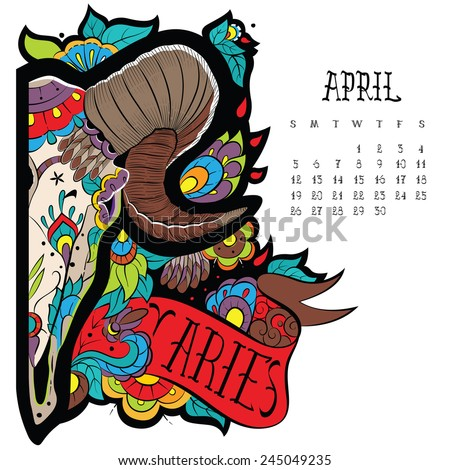Page astrological calendar. Aries color. Vector illustration