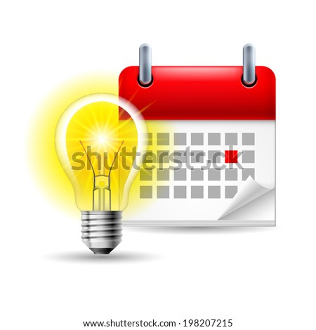 Page calendar with a marked red-letter day of the week. Near to lightbulb - stock vector