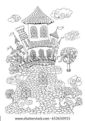 Page Coloring Pages For Kids And Adults Fairytale Castle