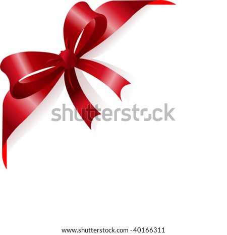 Page corner with red ribbon and bow. Place for copy/text. - stock vector