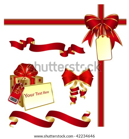 Page corner with red ribbon, bow and label. Place for copy/text. - stock vector