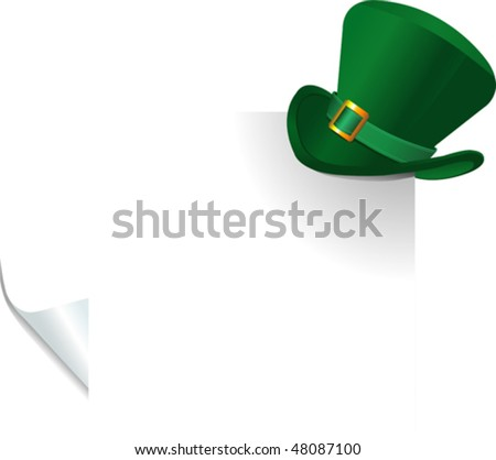 Page corner with St. Patrick's Day green hat of a leprechaun on curled paper. - stock vector