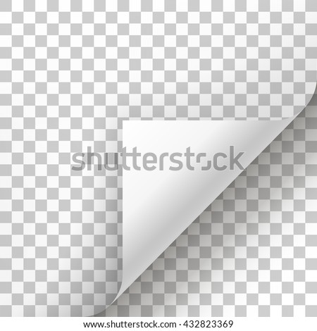 Page curl with shadow on blank sheet of paper. White paper sticker. Element for advertising and promotional message isolated on transparent background. template design element, Vector illustration - stock vector