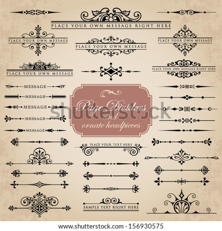 Page Dividers and ornate headpieces - stock vector