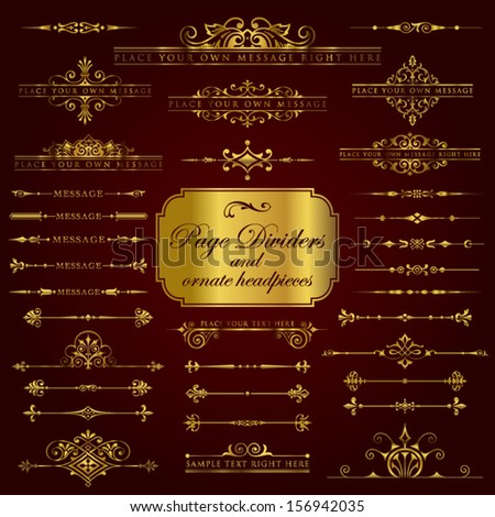 Page Dividers and ornate headpieces in gold - stock vector