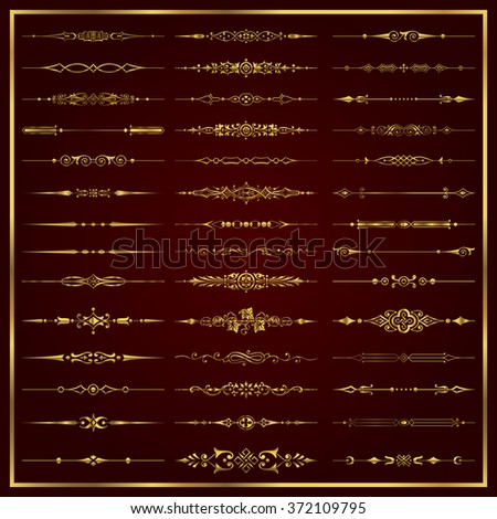 Page dividers in gold - vector set - stock vector