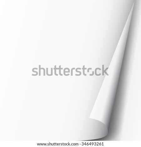 Page flip with curl effect and shadow on a blank sheet of paper, design element for advertising and promotional message isolated on white background. EPS 10 vector illustration.