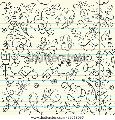 Page from a sketchbook - stock vector