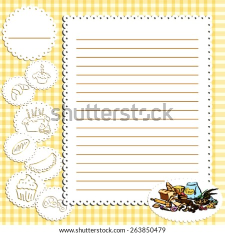 Page from the book of recipes - stock vector