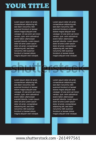 Page layout design template with blue angular square maze enclosing copy space isolated on black background. Vector illustration. - stock vector