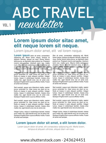 Page layout newsletter for use with travel business - stock vector