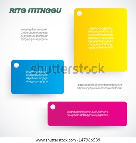 page layout with colorful text blocks - stock vector