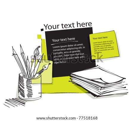 page layout with pencils, office copy paper and blank text boxes