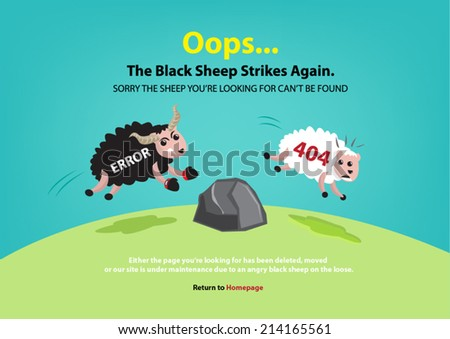 Page not found, 404 error. Black sheep chasing white sheep concept. - stock vector