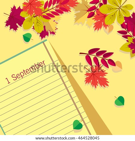 Page Notepad with pencil on background of autumn leaves. Back to school.
