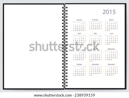 Page of a notebook for 2015. Vector - stock vector