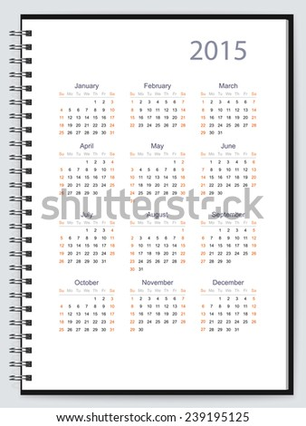 Page of a notebook with 2015 calendar. Vector - stock vector