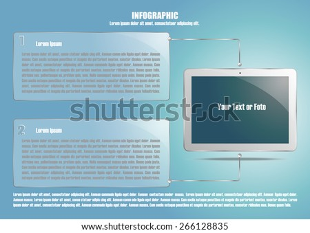 Page 2 of 4. Abstract touchscreen tablet computer  for info graphic, presentation, books, documents, web design etc - stock vector