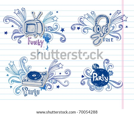 Page of music doodles, - stock vector