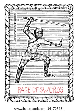 Page of swords. The minor arcana tarot card, vintage hand drawn engraved illustration with mystic symbols. Warrior with sword or ninja with katana  - stock vector