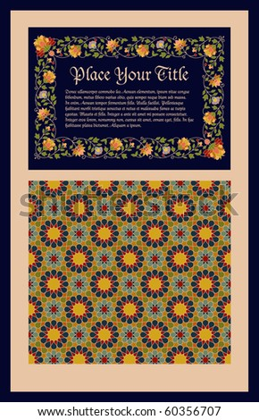 page or cover template with middle-eastern motifs - stock vector