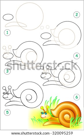Page shows how to learn step by step to draw a snail. Developing children skills for drawing and coloring. Vector image. - stock vector