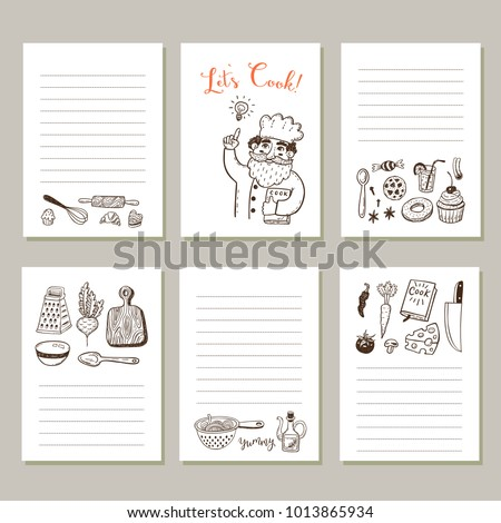 Page template set notes cooking recipe stock vector 2018 page template set for notes or cooking recipe cards with hand drawn doodle food and kitchen forumfinder Gallery