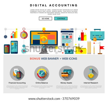 Page web design flat template with bright flat icons of digital accounting service, investment research, business data market analysis. Flat design graphic image concept, website elements layout.