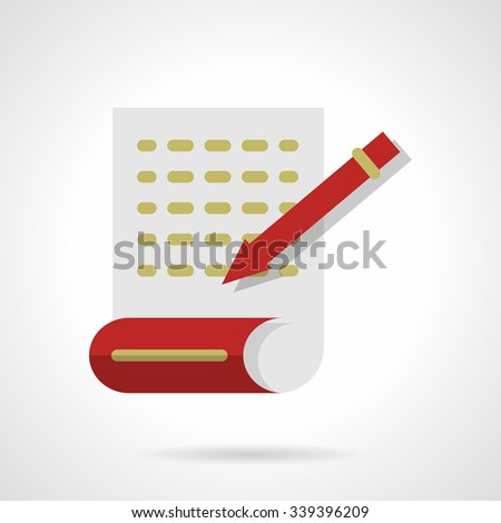 Page with abstract writing text with red pen. Journalism, writing articles. Flat color style vector icon. Buttons and design elements for website, mobile app, business.  - stock vector