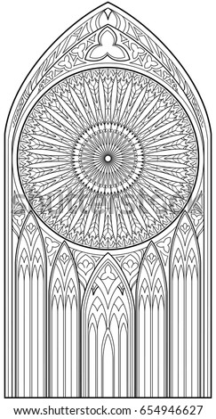 Page With Black And White Drawing Of Beautiful Medieval Gothic Window Stained Glass Rose
