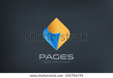 Pages Logo design vector template. Search data concept. Guide reference manual compendium logotype idea icon. - stock vector