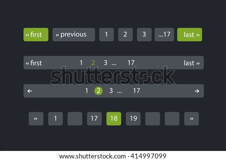 Pagination bars. Color green and black. Website element for user interface,  website development and mobile application design in modern fresh design style - stock vector