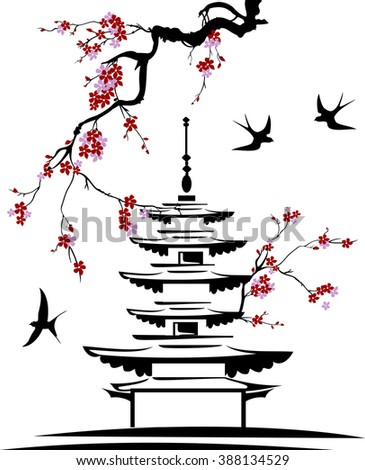 pagoda with tree branches and birds - stock vector