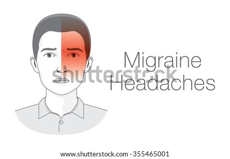 Pain on one side of head this is headache migraine symptoms. Medical illustration. - stock vector