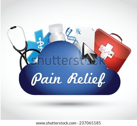 pain relief cloud computing medical concept illustration design over a white background - stock vector