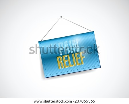 pain relief hanging banner illustration design over a white background - stock vector