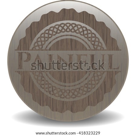 Painful retro style wooden emblem - stock vector