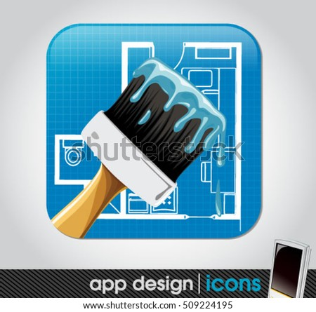 paint and home remodelling app icon for mobile devices