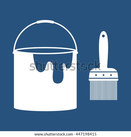 Paint Brush and Bucket Icon - stock vector