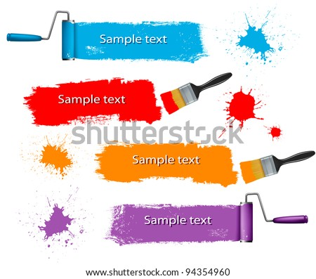 Paint brush and paint roller and paint banners. Vector illustration. - stock vector