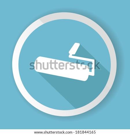 Paint brush,Blue button,vector - stock vector