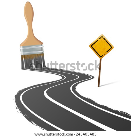 paint brush draws the road next to a traffic sign - stock vector