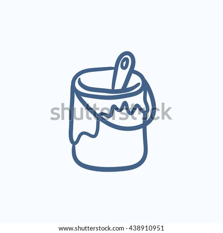 Paint brush in the paint tin vector sketch icon isolated on background. Hand drawn Paint brush in the paint tin icon. Paint brush in the paint tin sketch icon for infographic, website or app. - stock vector