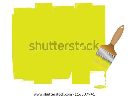Paint Brush On White Wall Sample Stock Vector 116507941 - Shutterstock
