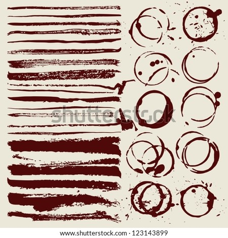 Paint brush strokes and stain - stock vector