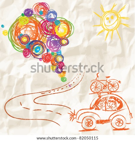 Paint brush with color lines on crumpled paper - travel creative child painting vector design - stock vector