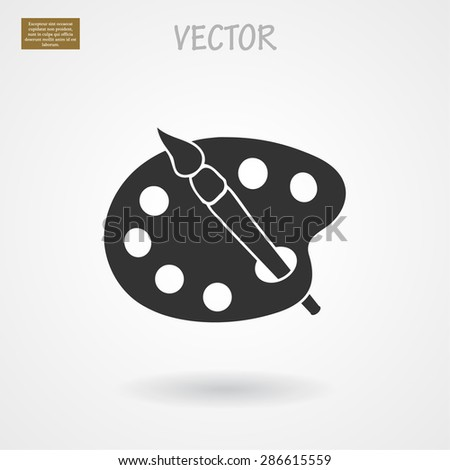Paint brush with palette icon. Vector  Eps 10  - stock vector